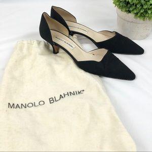 Manolo Blahnik D'Orsay Kitten Heels with bag